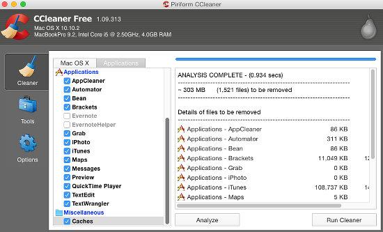 interface CCleaner mac